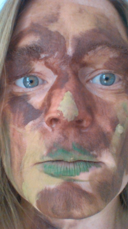 """Mummy soldier"" face painting by Naoise (aged 4)"