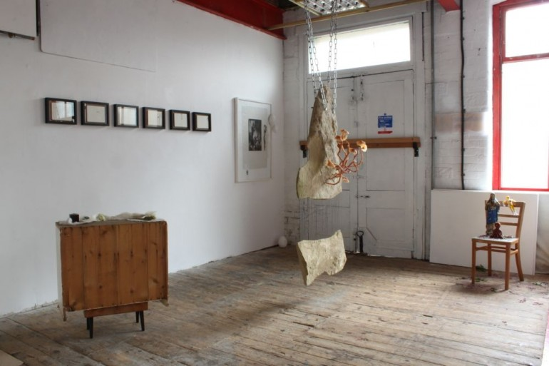 The egg the womb the head and the moon, Installation of exhibition, Upper Gallery Space: Frances Earnshaw, Paula McCloskey, Sally Barker, Mo Brown
