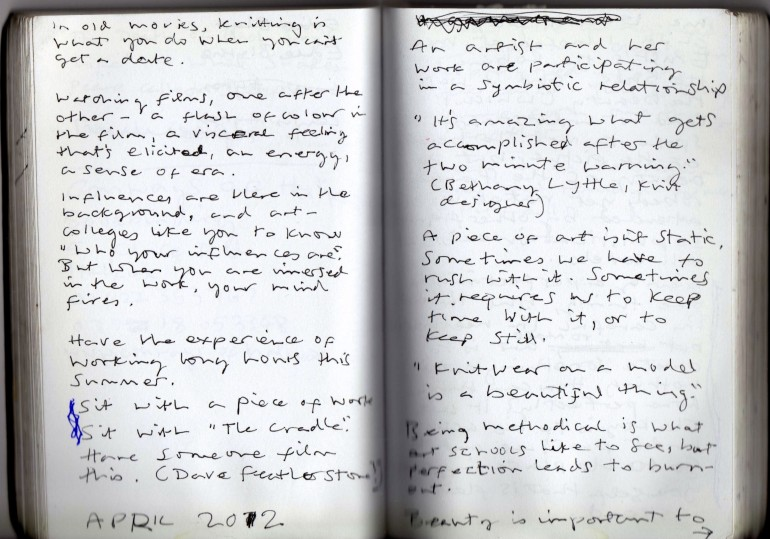 Frances Earnshaw, pages from a notebook.